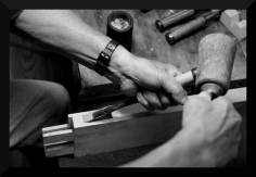 Toshio Odate cleaning a mortise.